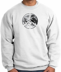 Peace Sweatshirt Peace Earth Satellite Image Sweatshirt White