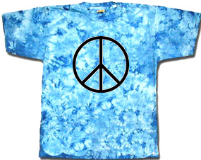 Peace Symbol Sign Blue Jay Adult Unisex Tie Dye T-shirt Tee Shirt