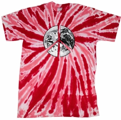 Peace Tie Dye T-shirt Peace Earth Red Twist Tie Dye