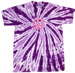 Peace Tie Dye T-shirt Pink Peace Purple Twist Tie Dye Tee