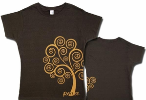 PEACE TREE Juniors Size Fitted Girly Brown T-shirt