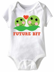 Peas Future BFF Funny Baby Romper White Infant Babies Creeper
