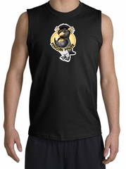PENGUIN POWER Athletic Gym Workout Adult Muscle Shirt Shooter - Black