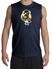 PENGUIN POWER Athletic Gym Workout Adult Muscle Shirt Shooter - Navy
