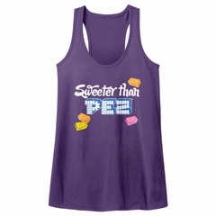 PEZ Candy Juniors Tank Top Sweeter Than Purple Racerback