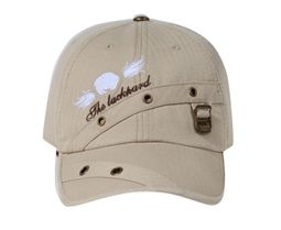 Pin-striped Design Hat with Metal Eyelet - Lackpard Cap - Khaki