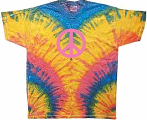 Pink Peace Sign Yoga Woodstock Tie Dye Adult Unisex T-Shirt Tee Shirt