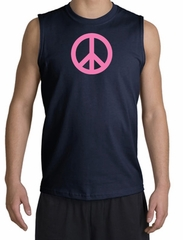 PINK PEACE World Peace Sign Symbol Adult Muscle Shirt Shooter - Navy