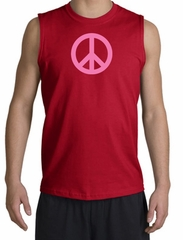 PINK PEACE World Peace Sign Symbol Adult Muscle Shirt Shooter - Red