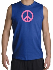 PINK PEACE World Peace Sign Symbol Adult Muscle Shirt Shooter - Royal