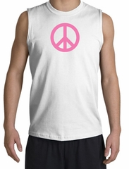 PINK PEACE World Peace Sign Symbol Adult Muscle Shirt Shooter - White
