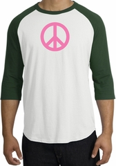 PINK PEACE World Peace Sign Symbol Adult Raglan T-shirt - White/Forest