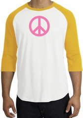 PINK PEACE World Peace Sign Symbol Adult Raglan T-shirt - White/Gold
