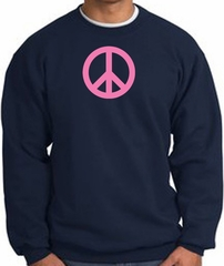 PINK PEACE World Peace Sign Symbol Adult Sweatshirt - Navy
