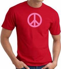PINK PEACE World Peace Sign Symbol Adult T-shirt - Red