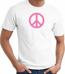 PINK PEACE World Peace Sign Symbol Adult T-shirt - White