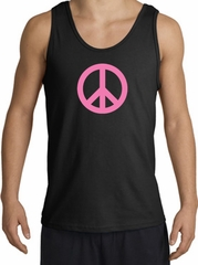 PINK PEACE World Peace Sign Symbol Adult Tanktop - Black