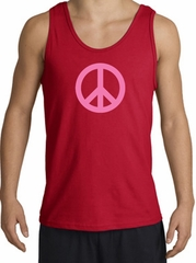 PINK PEACE World Peace Sign Symbol Adult Tanktop - Red