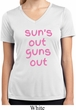 Pink Suns Out Guns Out Ladies Moisture Wicking V-neck Shirt