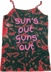 Pink Suns Out Guns Out Ladies Tie Dye Camisole Tank Top