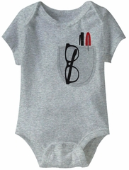 Pocket Protector Funny Baby Romper Gray Infant Babies Creeper