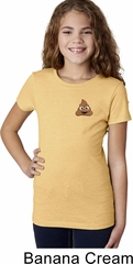 Poop Emoji Patch Pocket Print Girls Shirt