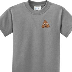 Poop Emoji Patch Pocket Print Kids Shirts
