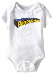 Pooperman Funny Baby Romper White Infant Babies Creeper