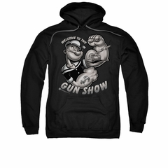 Popeye Hoodie Sweatshirt Gun Show Black Adult Hoody Sweat Shirt