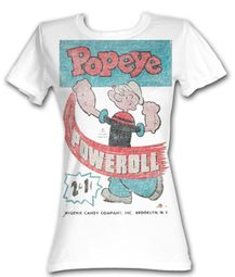 Popeye Juniors T shirt The Sailorman Poweroll White Tee Shirt
