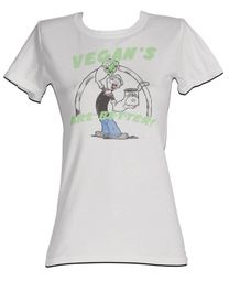 Popeye Juniors T shirt Vegans Are Better Silver Tee Shirt