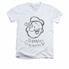 Popeye Premium Shirt Sketch Portrait Slim Fit V Neck White Tee T-Shirt