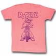 Popeye Shirt BIKO Adult Pink Heather T-Shirt Tee
