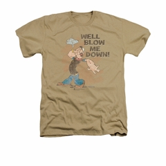 Popeye Shirt Blow Me Down Adult Heather Sand Tee T-Shirt
