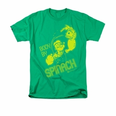 Popeye Shirt Body By Spinach Adult Kelly Green Tee T-Shirt
