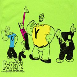 Popeye Shirt CMYK Adult Bright Green T-Shirt Tee