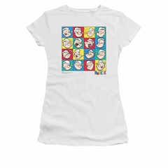 Popeye Shirt Color Block Juniors White Tee T-Shirt