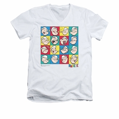 Popeye Shirt Color Block Slim Fit V Neck White Tee T-Shirt