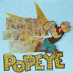Popeye Shirt Fightin Popeye Adult Heather Blue T-Shirt Tee