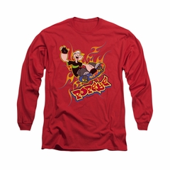 Popeye Shirt Get Air Long Sleeve Red Tee T-Shirt