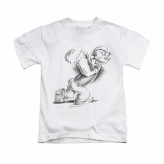 Popeye Shirt Here Comes Trouble Kids White Youth Tee T-Shirt