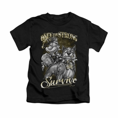 Popeye Shirt Only The Strong Kids Black Youth Tee T-Shirt