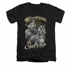 Popeye Shirt Only The Strong Slim Fit V Neck Black Tee T-Shirt