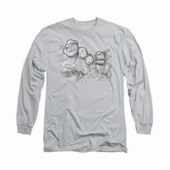 Popeye Shirt Pop Rushmore Long Sleeve Silver Tee T-Shirt