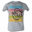 Popeye Shirt Popeye Color Stripes Adult Grey T-Shirt Tee