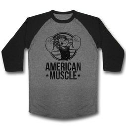 Popeye Shirt Raglan American Muscle Grey/Black Shirt
