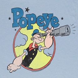 Popeye Shirt Right On Adult Light Blue T-Shirt Tee