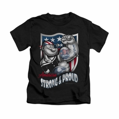 Popeye Shirt Strong & Proud Kids Black Youth Tee T-Shirt