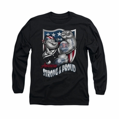 Popeye Shirt Strong & Proud Long Sleeve Black Tee T-Shirt