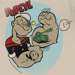 Popeye Shirt Tattoos Adult Dirty White T-Shirt Tee